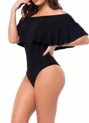 Off Shoulder Ruffled Bodysuit One Piece Bathing Suit UK_4