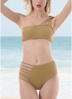 Women One Shoulder Hollow Out Side Bodycon High Waist Padded Wireless Tank Top Bikini Set UK_1