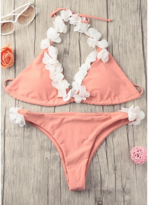 Hot Women Bikini Set UK Halter 3D Flower Appliqués Bodycon Wireless Bathing Suit UK Bathing Suit UKs Tank Top Beach Wear_5