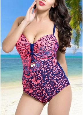 Modern Women Large Size One-Piece Swimwear Push Up Padding Wireless Swimsuit_1