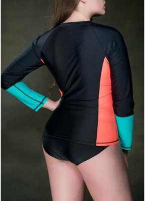 Large Size Wetsuit Contrast Color Zip Long Sleeve Swimsuit_7