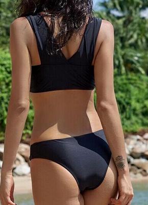 Hot Women Bikini Set UK Bathing Suit UK Push Up Swimsuits UK Solid Bodycon Beach Wear Bathing Suit UK Black/Army Green_3