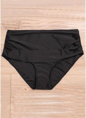Plus Size Flared High Waist Solid Bikini Set_5