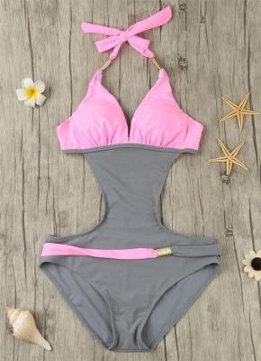 Modern Women's Contrast Color Block Halter Backless One Piece Swimsuit_6