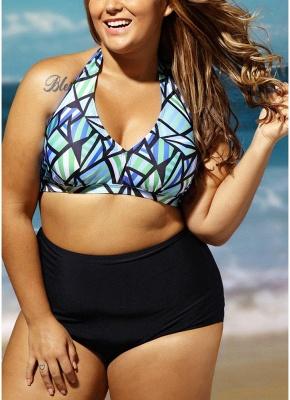 Plus Size Geometric Print Halter Backless High Waist Wireless Padding Bikini Set_4