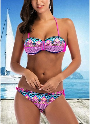 Halter Geometric Print Bandage Underwire Push Up Bikini Set_1