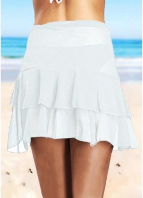 Sheer Mesh Ruffles Solid Color Bikini UK Skirt_3