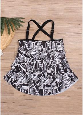 Modern Women Plus Size Tankini Set Geometric Print Shoulder Strap Beachwear Swimwear Swimsuit_5