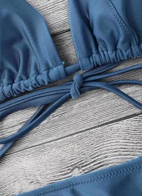 Solid Color Halter Bodycon Tie Bikini Set UK_8