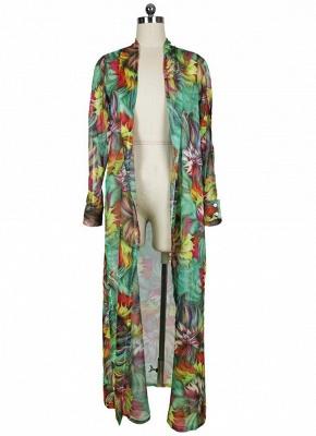 Hot Women Chiffon Bikini UK Cover Up Floral Bohemia Cardigan Kimono Loose Outerwear Beachwear Green/Blue_5