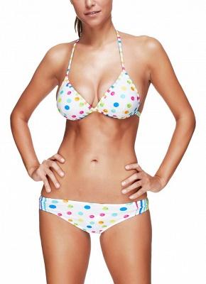 Women Bikini Set UK Polka dots Striped Print Punge V Neck Hater Padded Wireless Tank Top Bathing Suit UK_1