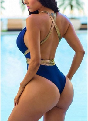 Contrast Color Metallic Plunging Halter Sexy Open Back One-piece Swimsuit_3