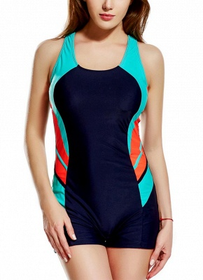 Panel Splicing Racing Sports One Piece Bathing Suit UK_3
