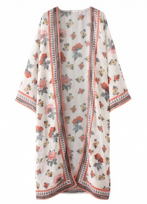 Womens Chiffon Kimono Cardigan Bikini Cover Ups Printed Boho Long Swimwear_5