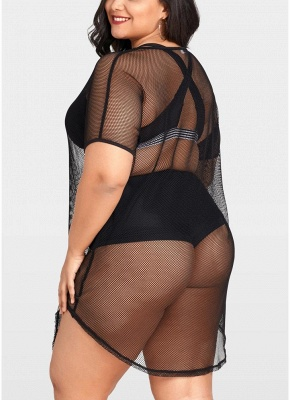 Modern Women Plus Size Cover Up Net See Through Bikini Beach Dress Wear_3