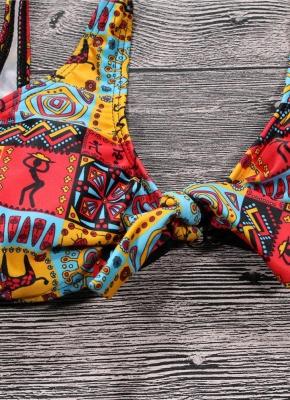 Geometric Print Bowknot Bodycon Wireless Padded Bikini Set UK_4