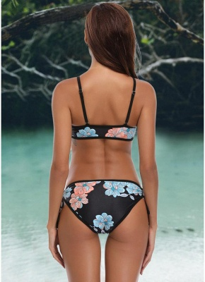 Triangle Printed Bandage Strappy Push Up Hollow Out Bikini Set_4