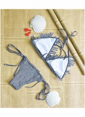 Womens Bathing Suit Striped Halter Bandage Sexy Open Back Tassel Swimsuit Beach Wear Bikini Set_6