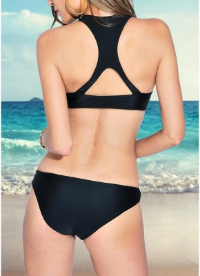 Womens One-piece Swimsuit High Neck Sexy Open Back Cutout Solid Monokini Bathing Suit Swimsuit_4