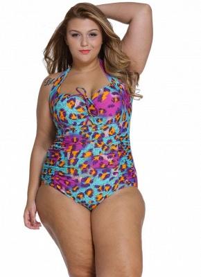 Print Plus Size Halter Tie Wireless Padded Monokini Swimsuit_1