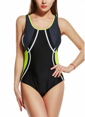 Modern Women Sporty One Piece Swimsuit Racer Back Contrast Splicing Padded Swimwear Playsuit_2