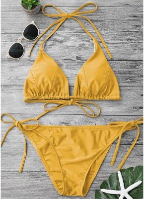 Solid Color Halter Bodycon Tie Bikini Set UK_2