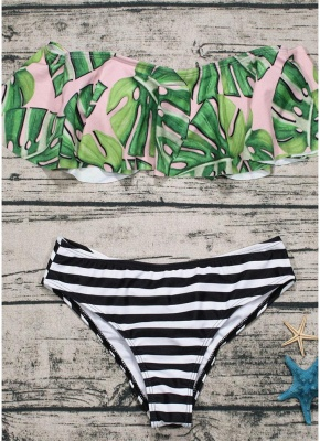 Off the Shoulder Ruffles Striped Leaf Print Bathing Bikini Set_4