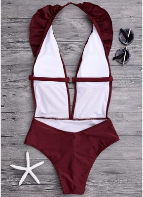 Womens One Piece Swimsuit Ruffles Front Sexy Open Back Bathing Suit Playsuit Jumpsuit Rompers_5