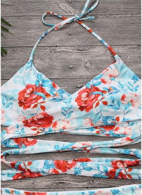 Floral Halter Swimsuit Sexy Open Back Strappy Bikini Set_4