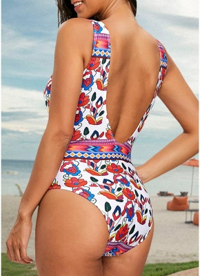 Printed Plunge V Neck High Waist Sexy Open Back One Piece Swimsuit_4
