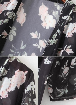 Chiffon Floral Slit Hem Sexy Open Front Long Sleeve Women's Long Kimono_6
