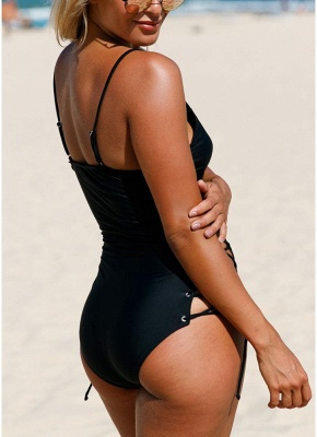 Womens One Piece Swimsuit Bathing Suit Deep V-Neck Lace Up Sides Swimsuit_5