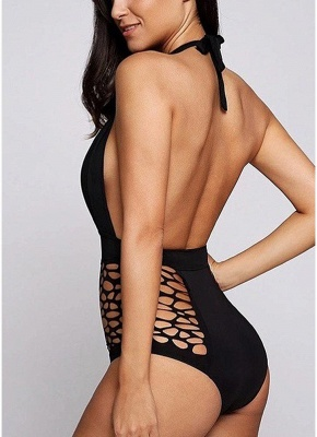 Plunge Hollow Out Halter Neck Backless Monokini_4