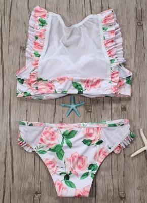 Hot Womens Tank top Swimsuit Printed Mesh Ruffled Beach Bathing Suit Bikini Set Swimsuit Pink?_4