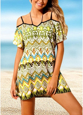 Modern Women Beach Dresses Cover Ups Geometry Print Halter Tie Mini Bikini Beachwear_2