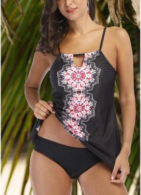 Womens Tankini Plus Size Swimsuit Tribal Printed Padded Bikini Set Push Up Swimwear_1