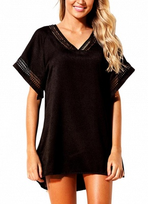 Women Crochet V-Neck Cover Up Beach Summer Dress Irregular Casual Swimsuits UK_2