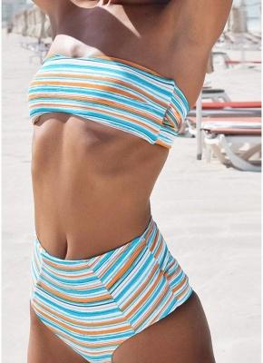 Womens Strapless Swimsuit Striped Print Halter Bikini Set Beach Bathing Suit Swimsuit_4