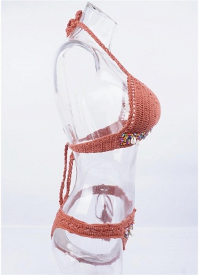 Crochet Knit Beads Halter Bodycon Bikini Set UK_6