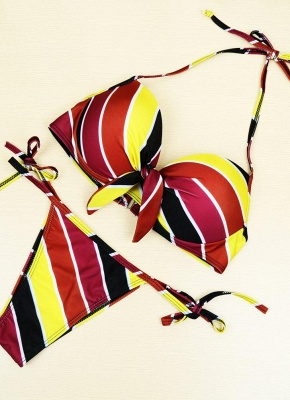 Contrast Stripe Underwire Padded Cup Tie Bikini Set UK Bathing Suit UK_1
