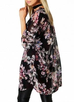 Fashion Chiffon Loose Cardigan Front Floral Retro Women's Kimono_3