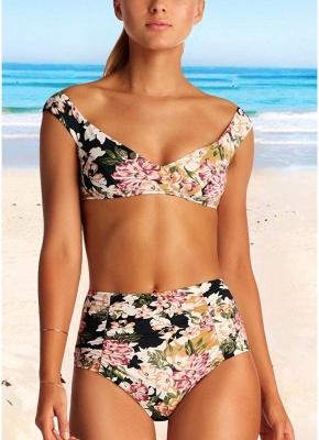 Women Floral Bikini Set UK V-Neck Sleeveless Padding Print Bathing Beach Swimsuits UK Bathing Suit UK_1