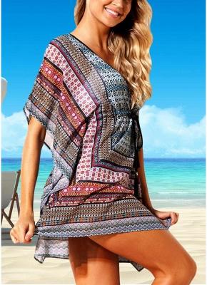 Women Beach Cover Up Dress Bohemian Geometric Print V-Neck Loose Swimsuits UK_5