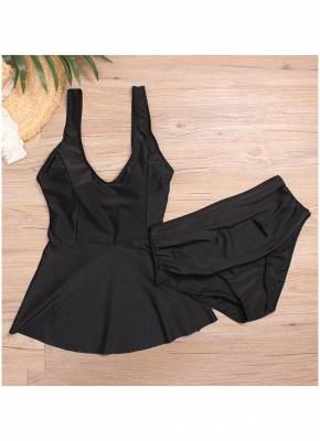 Plus Size Flared High Waist Solid Bikini Set_4