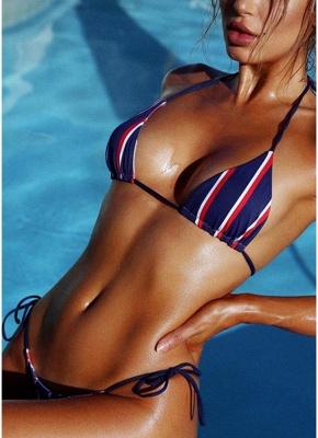 Halter Push Up Striped Tie Waist Padded Womens Bikini Set_3