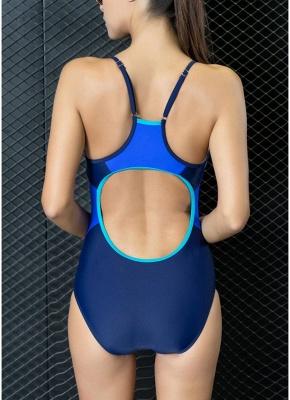 Modern Women One-Piece Swimwear Color Splice Strappy Sleeveless Padding Wireless Bathing Suit Swimsuits_6