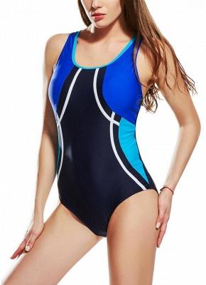 Modern Women Sporty One Piece Swimsuit Racer Back Contrast Splicing Padded Swimwear Playsuit_3