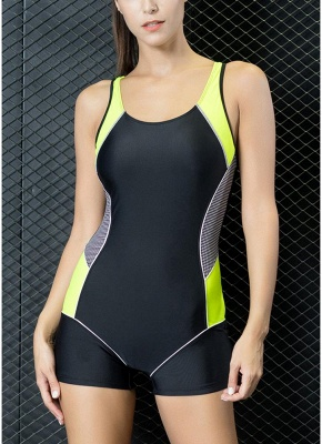 Modern Women One-Piece Swimwear Color Splice Cut Out Padding Bathing Suit Swimsuits_1