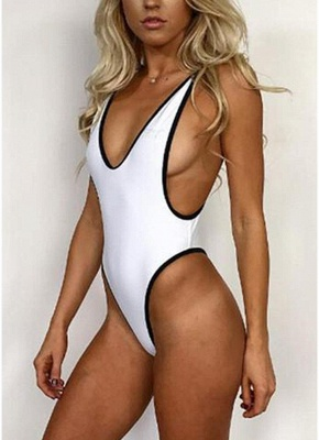 Women One-piece Bathing Suit UK Solid High Cut Thong Monokini Swimsuits UK Bathing Suit UK_1