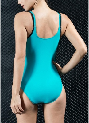 Womens Sports One Piece Swimsuit Bathing Suit Sexy Open Back Splice Racing Training Swimsuit_3